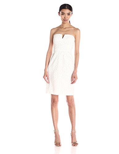 (Donna Morgan Women's Quinn Short Strapless Lace Dress, Ivory, 6)