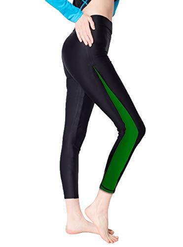 (Scodi Women's Surfing Leggings Swimming Tights (L, Green))