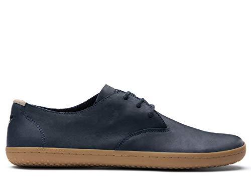 Vivobarefoot Ra Ii, Mens Leather Barefoot Oxford Lace Up Shoe, MOOD INDIGO LEATHER, 41 (Ra Y)