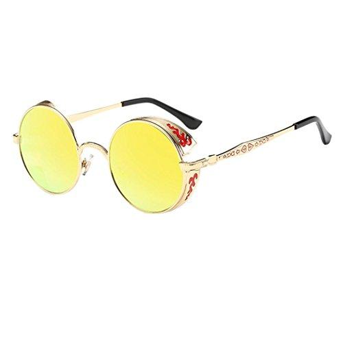 LHWY Femmes hommes été Vintage Retro lunettes de soleil ronde lunettes de soleil lunettes aviateur miroir lentille (Or, argent)