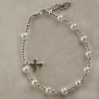 FCB-Rosary (White) Rosary Bracelet (White Pearl) Sterling Silver Girls Childrens Jewelry, white pearl rosary bracelet