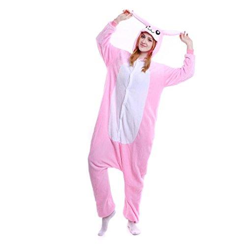 Christmas Pajama Cosplay, Litetao 2017 Soft Flannel Unicorn Rabbit Cartoon Jumpsuit (S, Pink) -