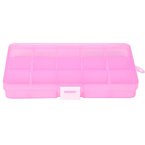 Plastic 15 Slots Adjustable Jewelry Storage Box Case Craft Organizer Bead Super Satchel Double Deep with Removable Dividers, Clear Art and Craft Storage Container Box (Hot Pink E)
