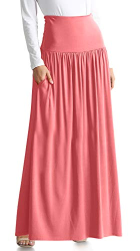 Womens Long Maxi Skirt with Pockets Reg and Plus Size - Made in The USA (Size XX-Large US 14-16, French Mauve Ankle-Length)