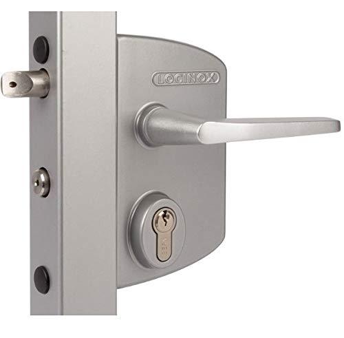 poteau carr/é 10 /à 30mm - LOCINOX Serrure /à cl/é pour portail industriel couleur gris