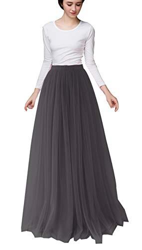Uswear Women Long Tulle Skirt Dress Floor Length for Wedding Bridal Bridesmaids High Waisted Maxi Tutu Party Dress (Black, Waist:65-95cm) by Uswear