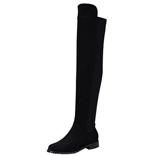Aiyoumei Mujeres Stretch Slip-on Low Heel Otoño Invierno Sobre La Rodilla Botas Largas Negro