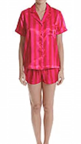 In Bloom by Jonquil Women's Satin Shortie Pajama Set (2X, Candy Pink - Candy Satin Pink