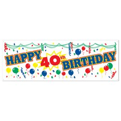 Happy 40th Birthday Sign Banner Party Accessory (1 count) (1/Pkg)]()
