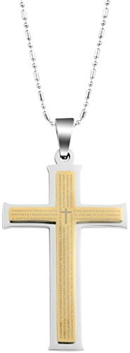 MoAndy Stainless Steel Men Pendant Necklace Chain Gods Lords Prayer Latin Cross 48x31MM Gold from MoAndy
