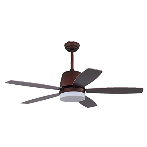 Ceiling Fans with Lights Ceiling Fans Lamp, Retro Wood Fan Inverter Ceiling Lights with Remote Control for Household Drawing Room, 52 inch, ChuanHan