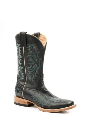 Stetson Women's Burnished Blue Stitched Cowgirl Boot Square Toe Black 11 M US