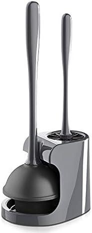 MR.SIGA - Destapador de inodoro y cepillo para limpieza de baño, color gris, 1 juego.