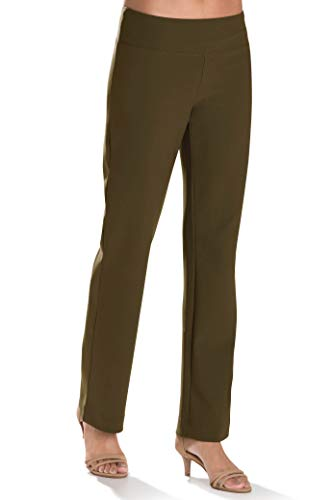 Boston Proper Women's Wrinkle-Resistant Straight-Leg Knit Solid Color Pant Olive X-Large Regular
