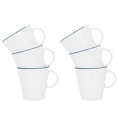 (Nicola Spring Farmhouse Espresso Cup - 90ml - White/Blue - Pack of 6)