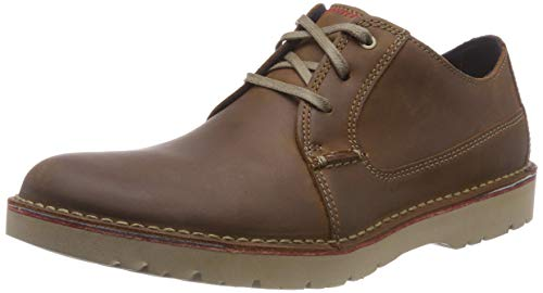 Tan Homme Clarks dark Derbys Marron Leather Plain Vargo wYYtOq