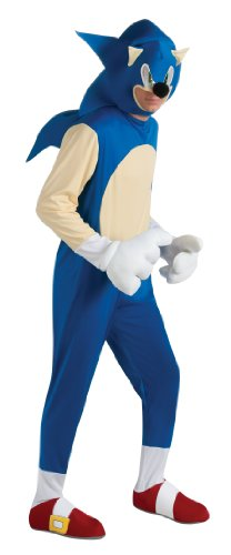 Sonic Adult Costumes (Sonic The Hedgehog Deluxe Adult Costume, Blue, Standard)