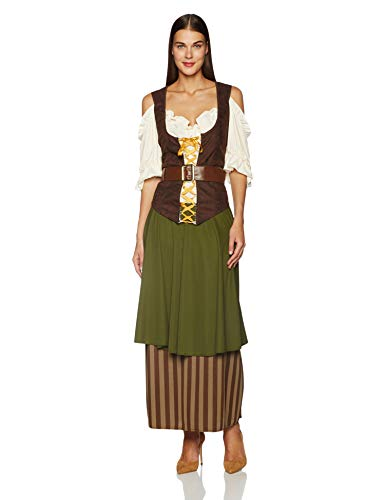 Queen Mary California Halloween (California Costumes Plus Size Tavern Maiden Costume, Olive/brown, 1XL)