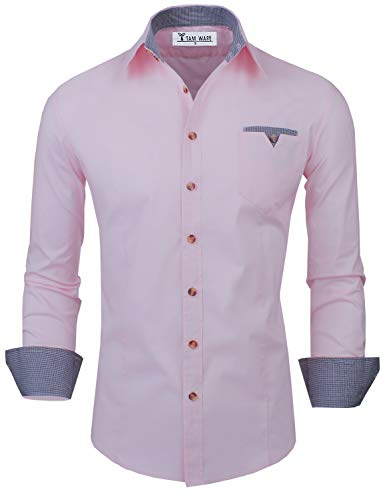 (TAM WARE Mens Classic Slim Fit Contrast Inner Long Sleeve Dress Shirts TWNMS310S-8219-PINK-US M)