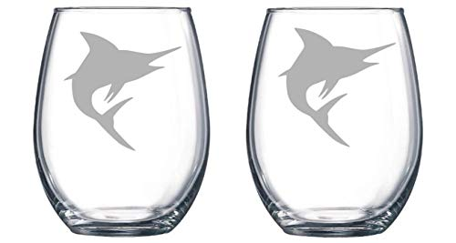 Marlins Rocks - Marlin Etched Stemless Wine glass, Pint Glass, Stemmed wine Glass, Rocks glass, Pilsner or Nonic Pint glass