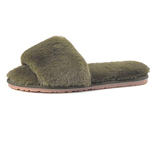 Fur Cozy Women's Lining Sole Green Outdoor Plush Warm Spa Indoor Rubber amp; Winter Comfort Slippers Slides wIIRq7