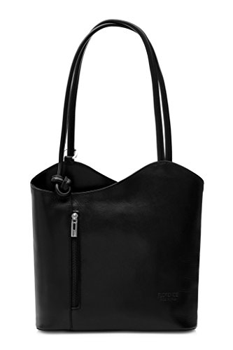 Italian Handbag Backpack Bag Big Carry Womens Shop Leather Plain Black Genuine on or Shoulder dIqvPqHwxZ