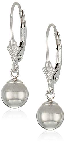 Art and Molly 14k White Gold Ball Drop Earrings with Leverback (7mm, ()
