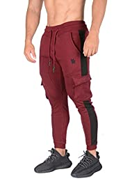 YoungLA Cargo Joggers for Men | Skinny Tapered Sweatpants | Striped Slim Gym Pants with Pockets | 210