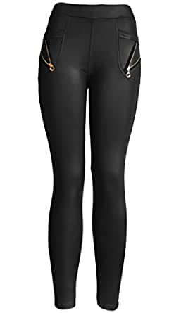KMystic Wet Look Faux Leather Stretchy Pants Leggings (Large/XLarge, Zipper Black)