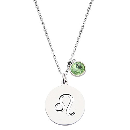 KUIYAI Stainless Steel Zodiac Sign and Birthstone Charm Necklace Bracelet (August-Leo ()