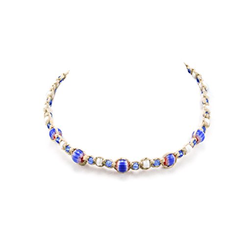 - Hemp Choker Necklace With White Clam Glass Bead 2 (Dark Blue)