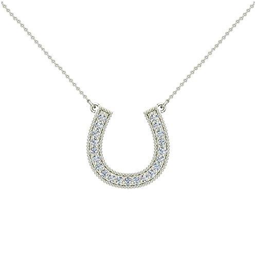 0.30 ct Diamond Horse Shoe Pendant 14K White Gold (P0185) (White Gold Shoe Pendant)