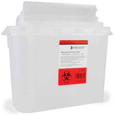McKesson Prevent Sharps Containers 5.4 Quart (11H X 12W X 4.75D Inch) 2-Piece - Clear Base with Horizontal Entry Lid - Case of 20