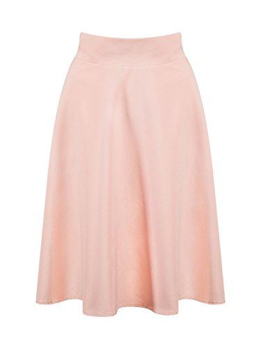 (PERSUN Women Peach Pink High Waist Midi Skirt)