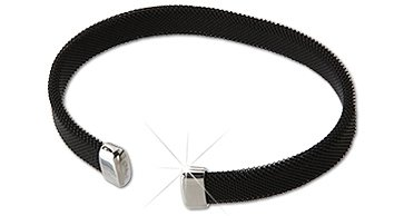 Qray Midnight Black and White Stainless Steel Mesh Golf Athletic Bracelet