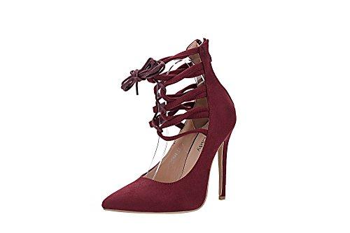 Mila Lady Ether21 Dorsay Strappy Enkel Elegantie Platform Lady Hakken Pumps Schoenen! Wine7.5