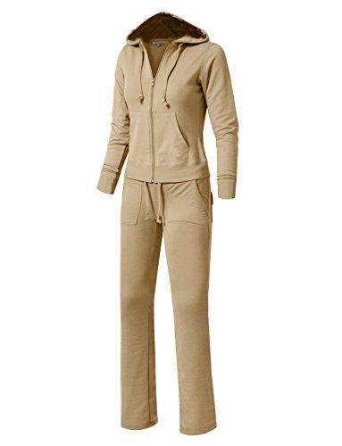 396f17634067f NE PEOPLE Womens Casual Basic Velour/Terry Zip up Hoodie Sweatsuit Set S-3XL