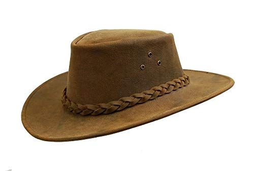 Australian Made Bulldog Leather Hat with Shapeable Brim in Tobacco (Leather Hat Kakadu)