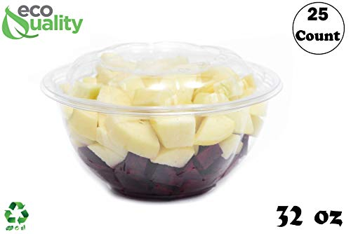 - 32oz Clear Disposable Salad Bowls with Lids (25 Pack) - Clear Plastic Disposable Salad Containers for Lunch To-Go, Salads, Fruits, Airtight, Leak Proof, Fresh, Meal Prep | Rose Bowl Container (32oz)