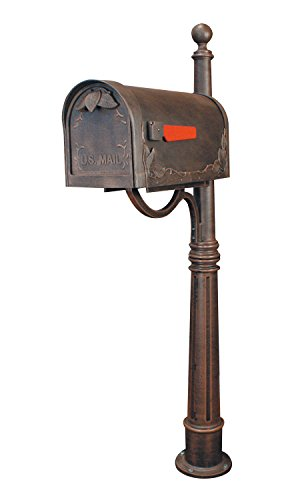 Floral Curbside Mailbox (Special Lite Products SCF-1003_SPK-600-CP Floral Curbside Mailbox with Ashland Post in Copper)