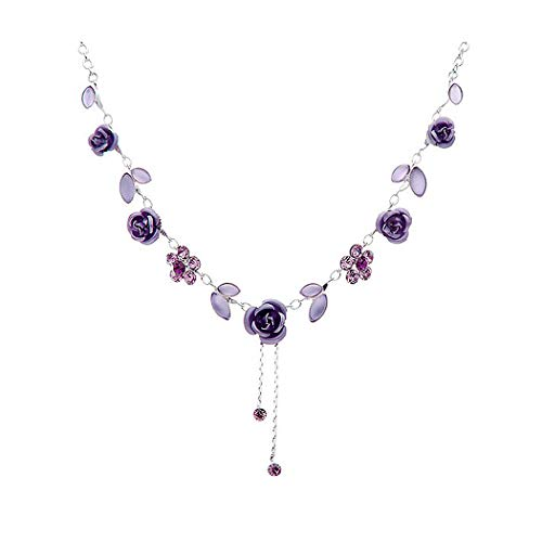 Glamorousky Elegant Rose Necklace with Purple Austrian Element Crystals 1028