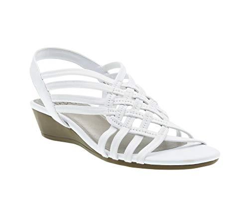 - Refresh Stretch Wedge Sandal, White Stretch Elastic/Soft Vachetta, 9.5 B(M) US