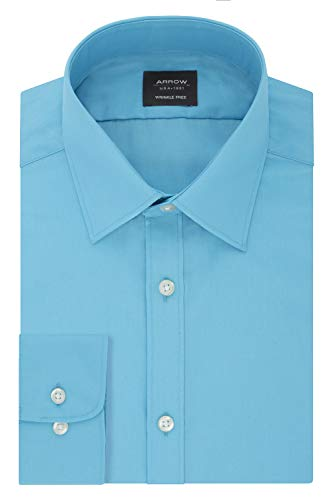 Arrow 1851 Men's Fitted Dress Shirt Poplin, Blue Wave, 17-17.5 Neck 32-33 Sleeve (X-Large)