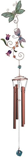 StealStreet SS-G-99420 Multi-Colored Green And Pink Glitter Dragonfly Copper/Gem Wind Chime Ss Glitter