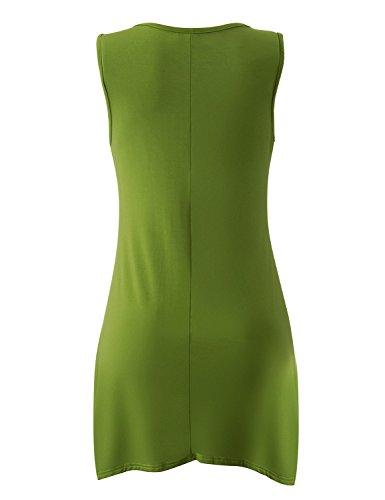 Yidarton Damen Sommerkleid Ärmelloses Asymmetrisch Tank Kleid Beiläufiges  Strandkleid Ausgestelltes Trägerkleid Knielang Grün uFMbflUZx ... 1d084ceb17
