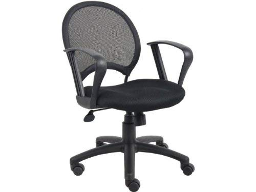 Boss Office Products B6217 Mesh Task Chair With Loop Arms in Black ()