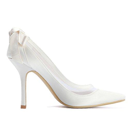 Ivoire De Satin Chaussures Pointu Hc1806 Bout Femme Elegantpark Mariée Haut Talon Mariage Arc Escarpins Bw8vnOqz
