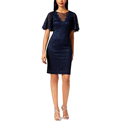 - Jessica Howard Womens Lace Glitter Cocktail Dress Navy 6
