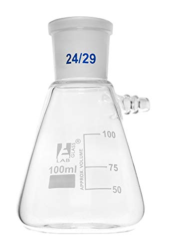 Buchner Filtering Flask, 100ml - Socket Size 24/29 - Interchangeable Joint - Side Arm - Borosilicate Glass - Eisco Labs ()