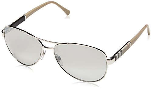 Burberry Unisex 0BE3080 Silver/Light Grey Silver Mirror by BURBERRY